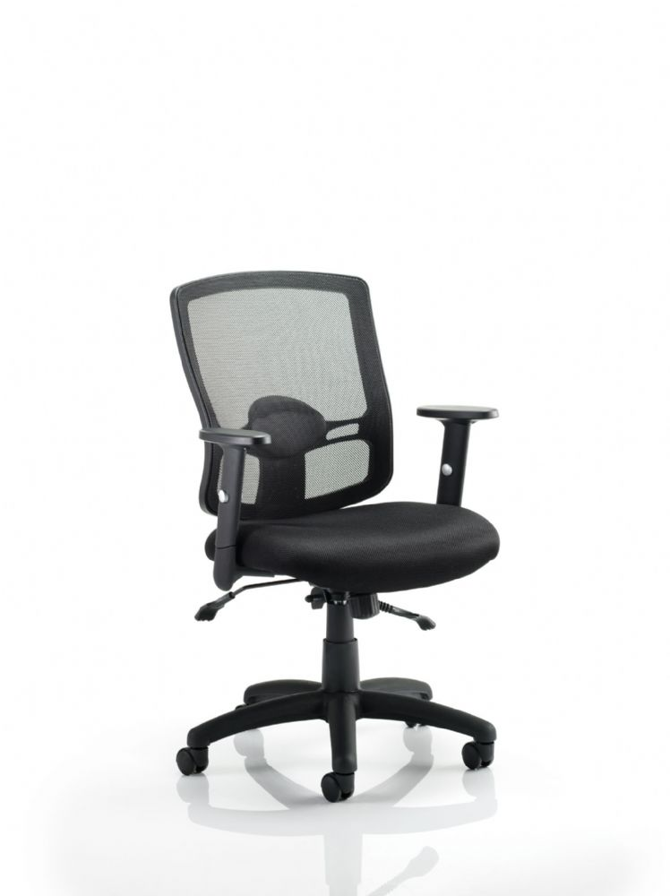 Portland 2 Mesh Back Operator Chair  Air Mesh Fabric Seat Mesh Back Adjustable Arms Various Colours